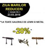 -20% la TOATE galeriile de lemn si metal pentru perdele doar pe 23.03.2018