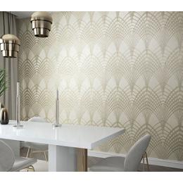 Tapet decorativ, geometric, maro, auriu, dormitor, tineret, living, Urban Spaces, 32255