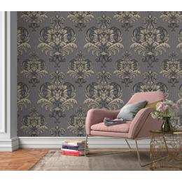Tapet clasic, baroc, unt, gri, auriu, dormitor, 10102-34