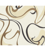 Tapet cu linii curbate, crem, auriu, dormitor, lavabil, 10105-30